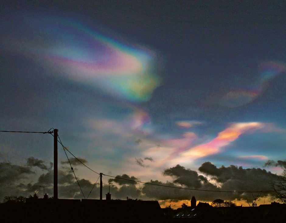 Nacreous or mother-of-pearl clouds, spotted over Kells, County Antrim, Northern Ireland © Paul Bell