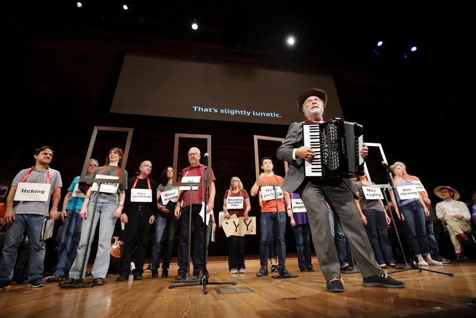 Dr Thomas Michael plays the accordion at the annual Ig Nobel awards ceremony © AP