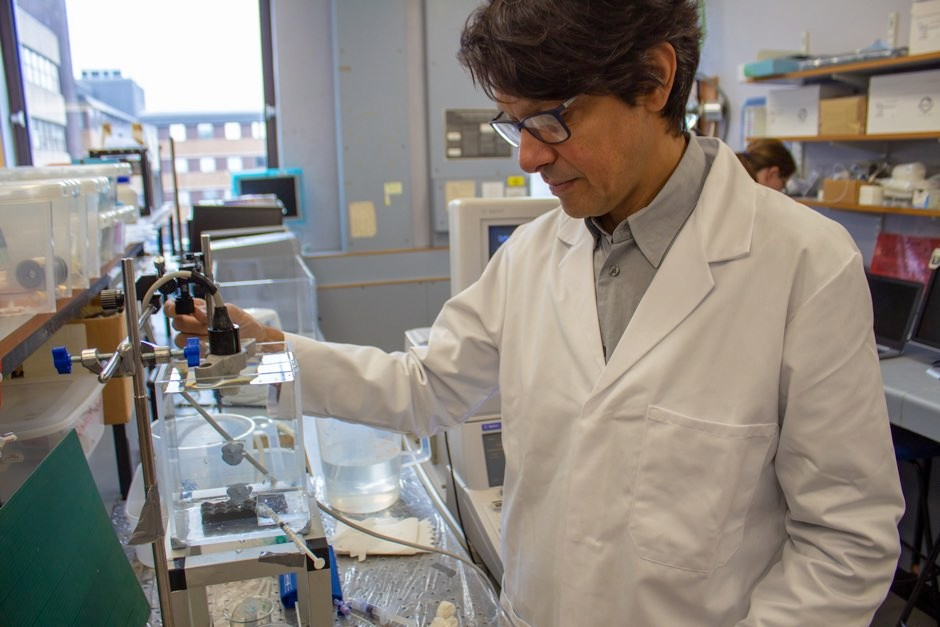 Dr Vassilis Sboros, who led the research, testing out the new technology in the lab © PA