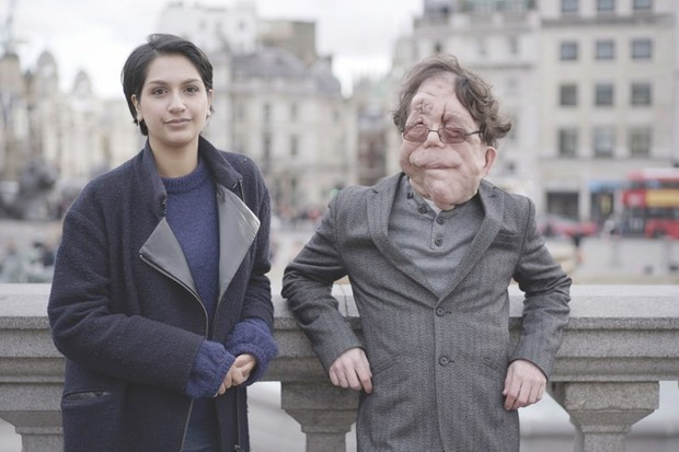 Adam Pearson and co-host Angela Saini investigate the murky world of eugenics in Eugenics: Science's Greatest Scandal © BBC/Furnace Ltd