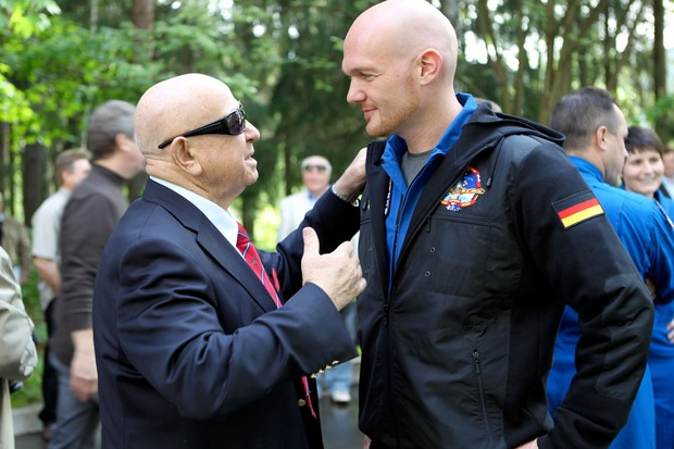 The first person to make a spacewalk, Alexey Leonov (left) meets ESA astronaut Alexander Gerst shortly before Alexander's six-month mission on the International Space Station © ESA