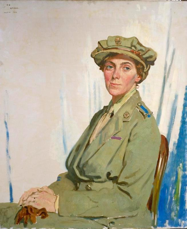 First Chief Controller, Queen Mary's Army Auxiliary Corps (QMAAC) in France, Dame Helen Gwynne-Vaughan, GBE, painted by William Orpen (Public domain)