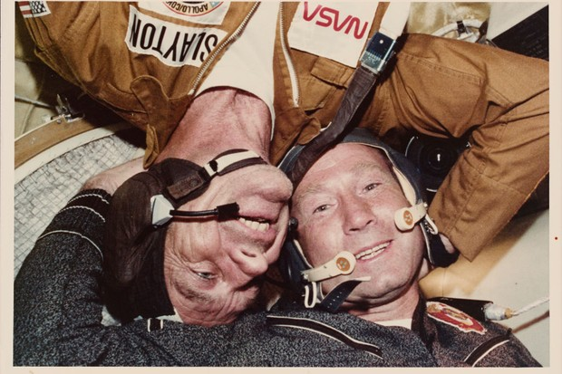 Donald K 'Deke' Slayton (left), the American Docking Module Pilot, and Alexei Arkhipovich Leonov, the Soviet mission Commander aboard the joint US-USSR Apollo-Soyuz Test Project © Space Frontiers/Getty Images