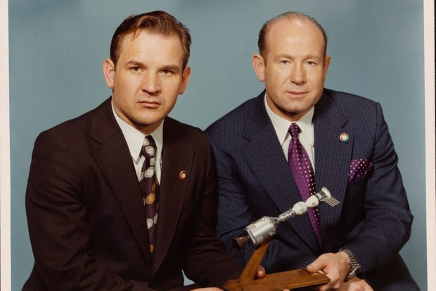 Alexei Leonov (R) with Valeri Nikolayevich Kubasov, the two Soviet prime crewmen of the joint US-USSR Apollo-Soyuz Test Project, 1974 © Space Frontiers/Getty Images