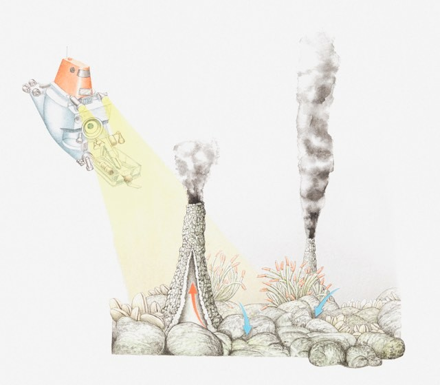Illustration of smokers (sea vents, hydrothermal vents) on the ocean floor in volcanically active areas of mid-ocean ridges - stock illustration