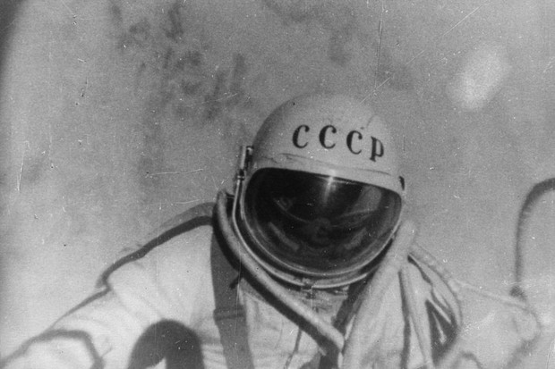 A still from a documentary film 'The Man Walking In Space', which followed Russian astronaut Alexei Leonov on his famous orbit in the spacecraft Voskhod 2 © Central Press/Getty Images