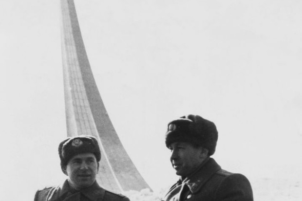 Soviet cosmonaut Colonel Pavel Belyayev (left) with Colonel Alexey Leonov in Moscow, Russia, 1965. The two men carried out the Voskhod 2 space mission that same year, which saw Leonov become the first man to walk in space © Keystone/Hulton Archive/Getty Images