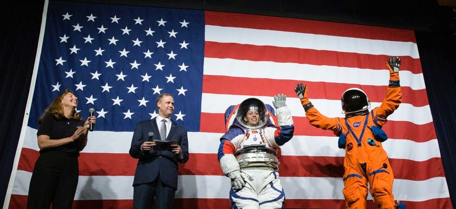 Nasa says new spacesuits for moonwalking will consign bunny hops to history © PA/Nasa/Joel Kowsky
