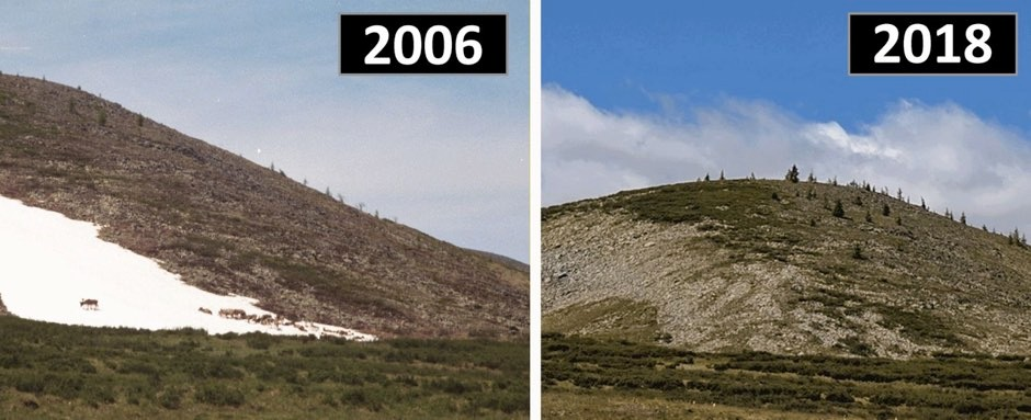 Image of a persistent snow and ice patch in Mengebulag taken in 2006, showing domestic reindeer using the patch, and (right); the same patch in 2018, which local residents indicated had melted for the very first time (Taylor et al 2019)
