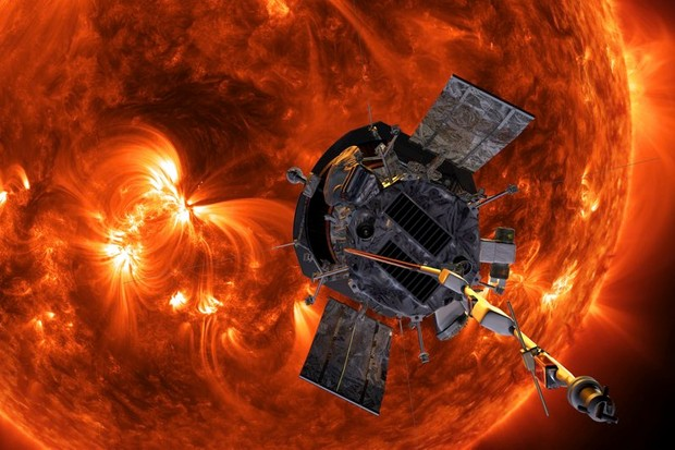 An artist's impression of the Parker Solar Probe spacecraft approaching the Sun © Steve Gribben/Johns Hopkins APL/Nasa/PA