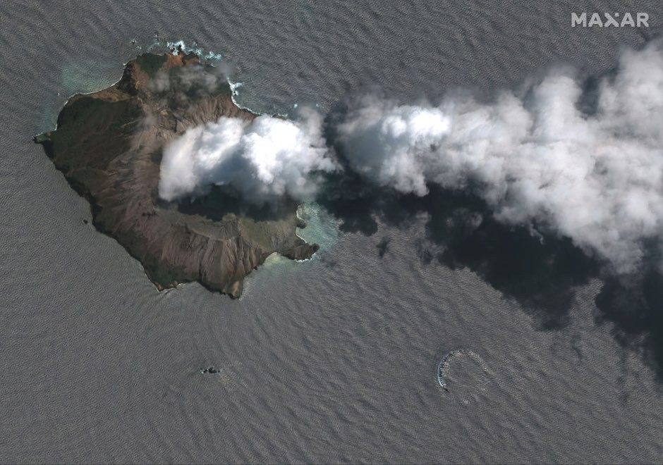 A satellite image of White Island after the eruption © 2019 Maxar Technologies