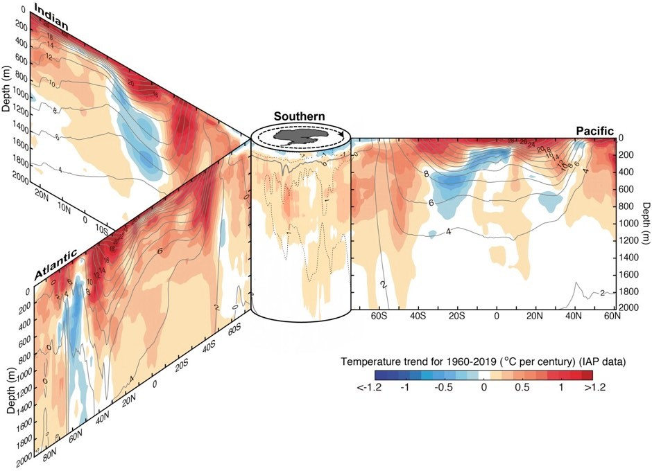 Ocean temperature trend from 1960 to 2019 in the three major ocean basins from surface to 2,000m. The zonal and vertical sections are organized around Southern Ocean in the center. Black contours show the associated climatological mean temperature with intervals of 2C © Lijing Cheng