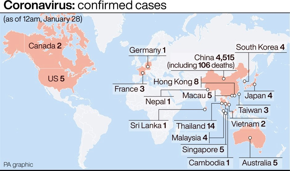 Infographic showing confirmed cases of Coronavirus so far © PA Graphics