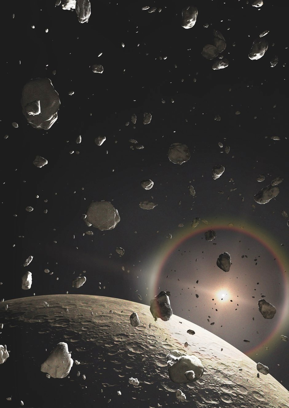 Illustration of a field of debris following the collision between two ice-rich Kuiper Belt objects © Getty Images