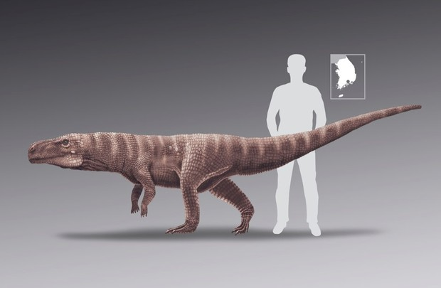 An artist's impression of an ancient crocodile species that walked on two hind legs © Anthony Romilio/The University of Queensland