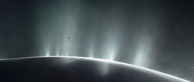 Graphic of Cassini plunging through plumes of water jets erupting from Enceladus © NASA