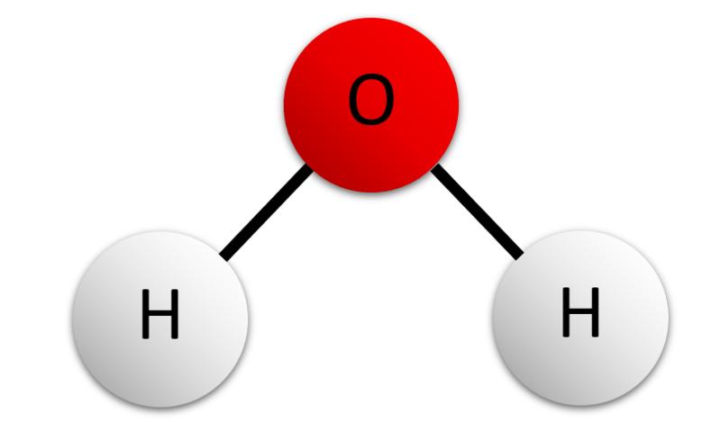 A diagram of a water molecule