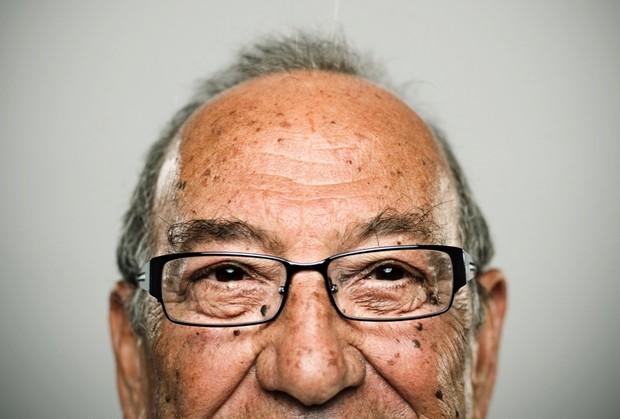 Senior person wearing glasses
