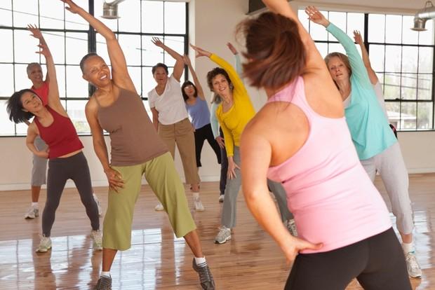 people at an aerobics class