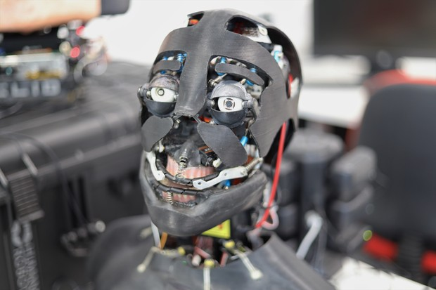 The robot heads were designed using CAD and then 3D-printed © Carl Strathearn