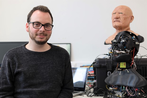 Dr Carl Strathearn and the robot heads © Carl Strathearn