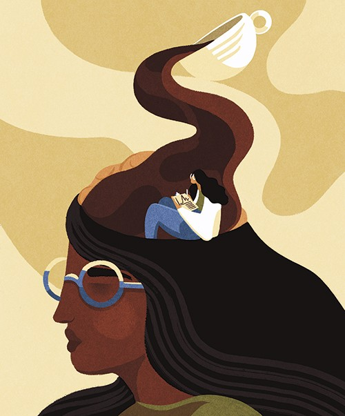 Illustration of coffee pouring into someone's head © Sophie Standing