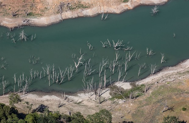 Trees at the bottom of Lake Sonoma have become exposed as the large reservoir of drinking water drops below 40% capacity and 50% of the historical average as viewed in this aerial photo taken on June 1, 2021, near Healdsburg, California. Due to a lack of rain during the driest North Coast weather in recorded history, municipalities and farmers in Mendocino, Sonoma, and Marin Counties who use water pulled from the Russian River drainage are now under mandatory water restrictions. As of this date, Governor Gavin Newsom has yet to declare a water