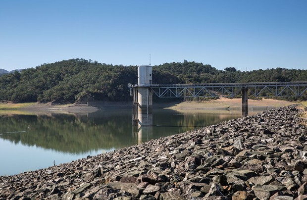 UKIAH, CA - JUNE 02: Lake Mendocino's remaining water at Coyote Dam is viewed as the overall water level dropped to less than 29% capacity on June 2, 2021, near Ukiah, California. Due to a lack of rain during the driest North Coast weather in recorded history, municipalities and farmers in Mendocino, Sonoma, and Marin Counties who use water pulled from the Russian River drainage are now under mandatory water restrictions. As of this date, Governor Gavin Newsom has yet to declare a water