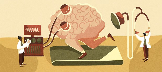 Illustration of a brain running on a treadmill © Sophie Standing