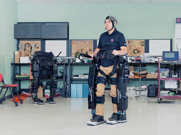 NeuroRex is a brain-controlled exoskeleton that helps improve independence and quality of life for disabled people. © David Vintiner