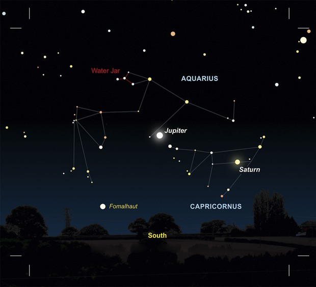 Diagram showing where Jupiter will appear in the sky at 1:20am on 20 August 2021 © Pete Lawrence