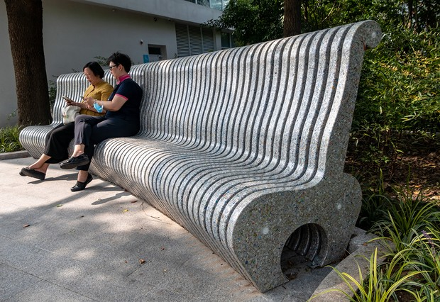 An eco-friendly bench made from 160,000 recycled milk cartons is seen in Shanghai, China, On August 25, 2021. It is reported that the environmental protection seat through special process and trial and error, has a high strength, as well as the resistance to bad weather and other factors. (Photo credit should read Wang Gang / Costfoto/Barcroft Media via Getty Images)