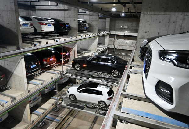 SHIJIAZHUANG, CHINA - AUGUST 06: An interior view of an automated underground parking lot on August 6, 2021 in Shijiazhuang, Hebei Province of China. (Photo by Zhai Yujia/China News Service via Getty Images)