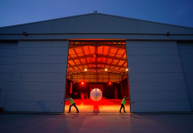 NEWQUAY, ENGLAND - AUGUST 10: The Virgin Orbit Launcher One rocket in its hanger at Newquay Airport on August 10, 2021 in Newquay, England. Spaceport Cornwall is aiming to launch its first satellites in spring of 2022. (Photo by Hugh R Hastings/Getty Images)