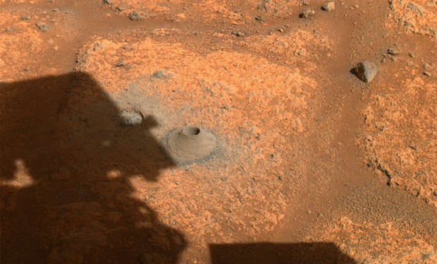 This image taken by NASA's Perseverance rover on Aug. 6, 2021, shows the hole drilled in a Martian rock in preparation for the rover's first attempt to collect a sample. It was taken by one of the rover's hazard cameras in what the rover's science team has nicknamed a