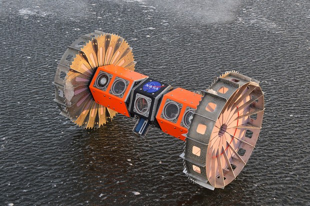 BRUIE (Buoyant Rover for Under-Ice Exploration) is a prototype submarine rover from NASA's Jet Propulsion Laboratory.  The rover began testing in the Arctic in 2015 and is intended to explore the inner ocean of the aquatic worlds of the solar system.  BRUIE is floating and uses his two wheels to roll under the ice and search for life.