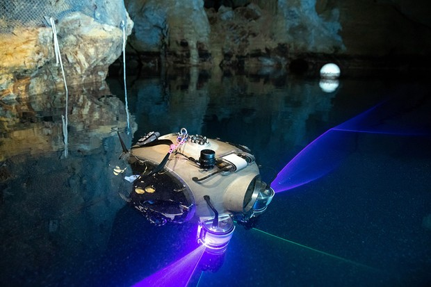 The UX-1A robot diver is pictured during a field test in the Molnar Janos cave in Budapest, Hungary, 03 July 2019. The device was developed for underwater exploration in flooded mines by a team international led by the University of Miskolc as part of the Horizont 2020 UNEXIMIN Project (Underwater Explorer for flooded Mines) funded by the EU.  The submerged robot collects geological data from water-filled cavities and will be deployed in cave and mine accident search operations.  By: Balazs Mohai / EPA-EFE / ShutterstockThe UX-1A robot diver is pictured during a field test in the Molnar Janos cave in Budapest, Hungary, July 3, 2019. The device was developed for exploration underwater in flooded mines by an international team led by the University of Miskolc as part of the EU-funded Horizont 2020 UNEXIMIN (Underwater Explorer for flooded Mines) project.  The submerged robot collects geological data from water-filled cavities and will be deployed in cave and mine accident search operations.  Testing a diving robot in search of caves in Hungary, Budapest - July 03, 2019. Photo by Balazs Mohai / EPA-EFE / Shutterstock