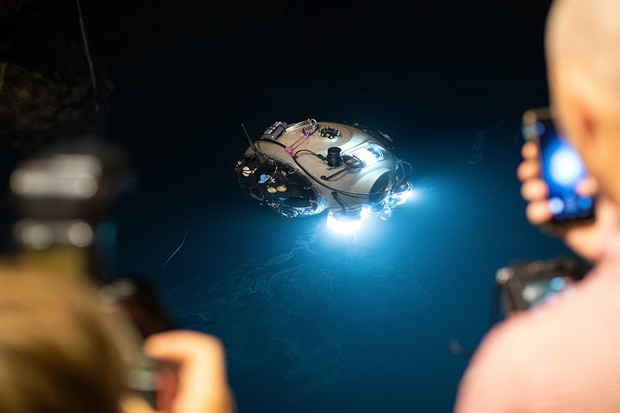 The UX-1A robot diver is pictured during a field test in the Molnar Janos cave in Budapest, Hungary, July 3, 2019. The device was developed for underwater exploration in mines flooded by a international team led by the University of Miskolc within the framework of the EU - funding of the Horizon 2020 UNEXIMIN project (Underwater Explorer for flooded Mines).  The submerged robot collects geological data from water-filled cavities and will be deployed in cave and mine accident search operations.  Photo by Balazs Mohai / EPA-EFE / Shutterstock Members of the EU-funded Horizont 2020 UNEXIMIN (Underwater Explorer for flooded Mines) project team conduct a field test of the UX-1A robot diver in the Molnar Janos cave in Budapest, Hungary, July 03, 2019 The device was developed for underwater exploration in flooded mines by an international team led by the University of Miskolc.  The submerged robot collects geological data from water-filled cavities and will be deployed in cave and mine accident search operations.  A cave explorer robot diver tested in Hungary, Budapest - Jul 03, 2019