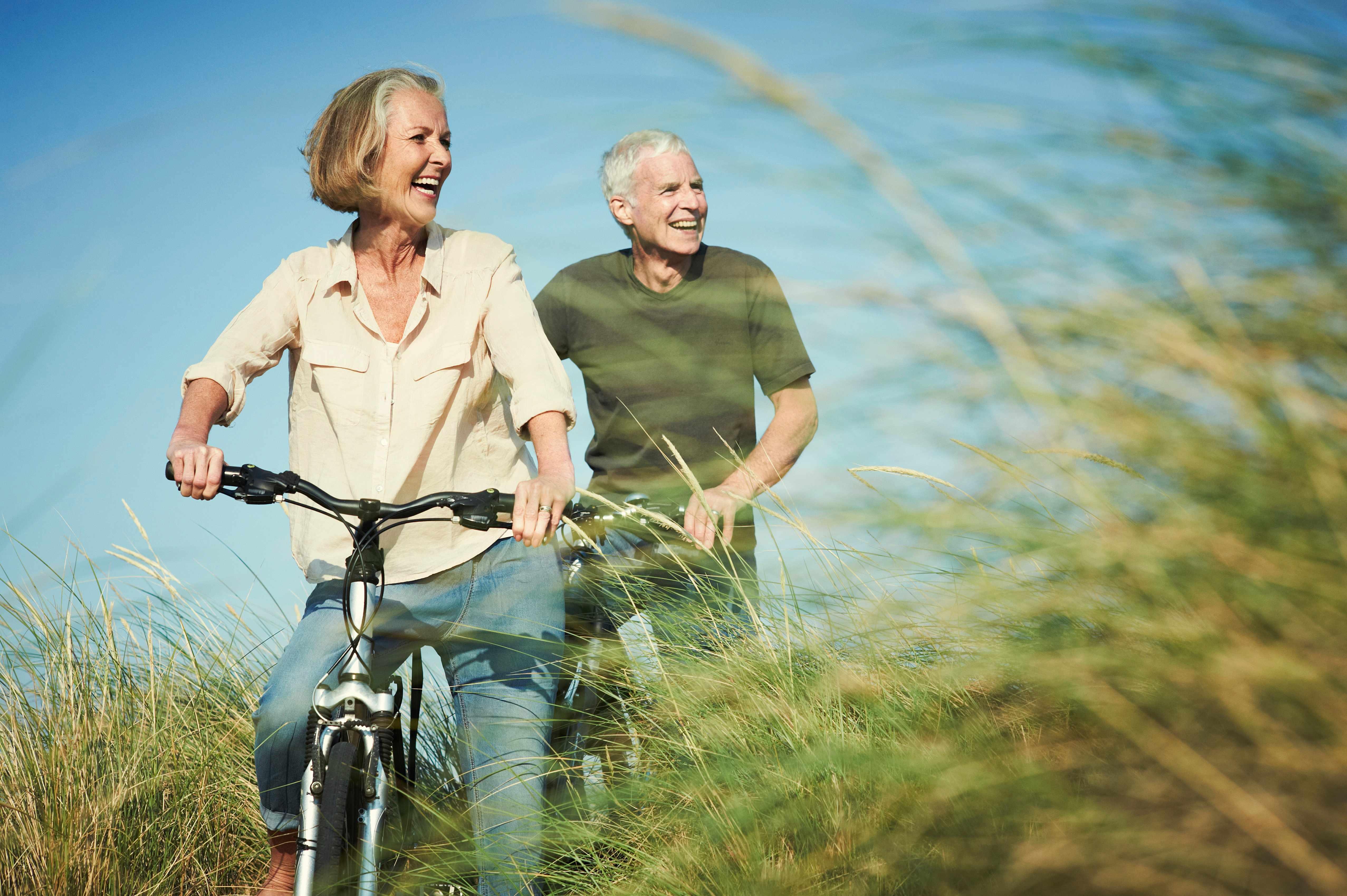 Senior couple enjoying day out on their bicycles