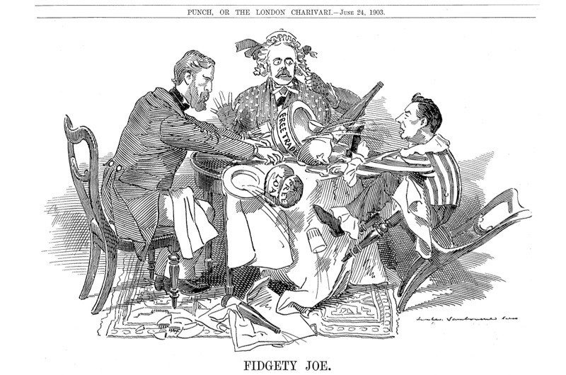 A cartoon from 'Punch' magazine (1903) titled 'Fidgety Joe', by Edward Linley Sambourne, depicting two parents representing the Duke of Devonshire and Arthur Balfour (centre), respective leaders of the Liberal Unionist and Conservative parties, trying to control their son, Joseph Chamberlain. In 1903, Joseph Chamberlain began his famous crusade for Imperial Preference – an issue which caused deep divisions in the government and ultimately paved the way for the Liberal Party's return to power in the 1906 general election. (Photo by Ann Ronan Pictures/Print Collector/Getty Images)