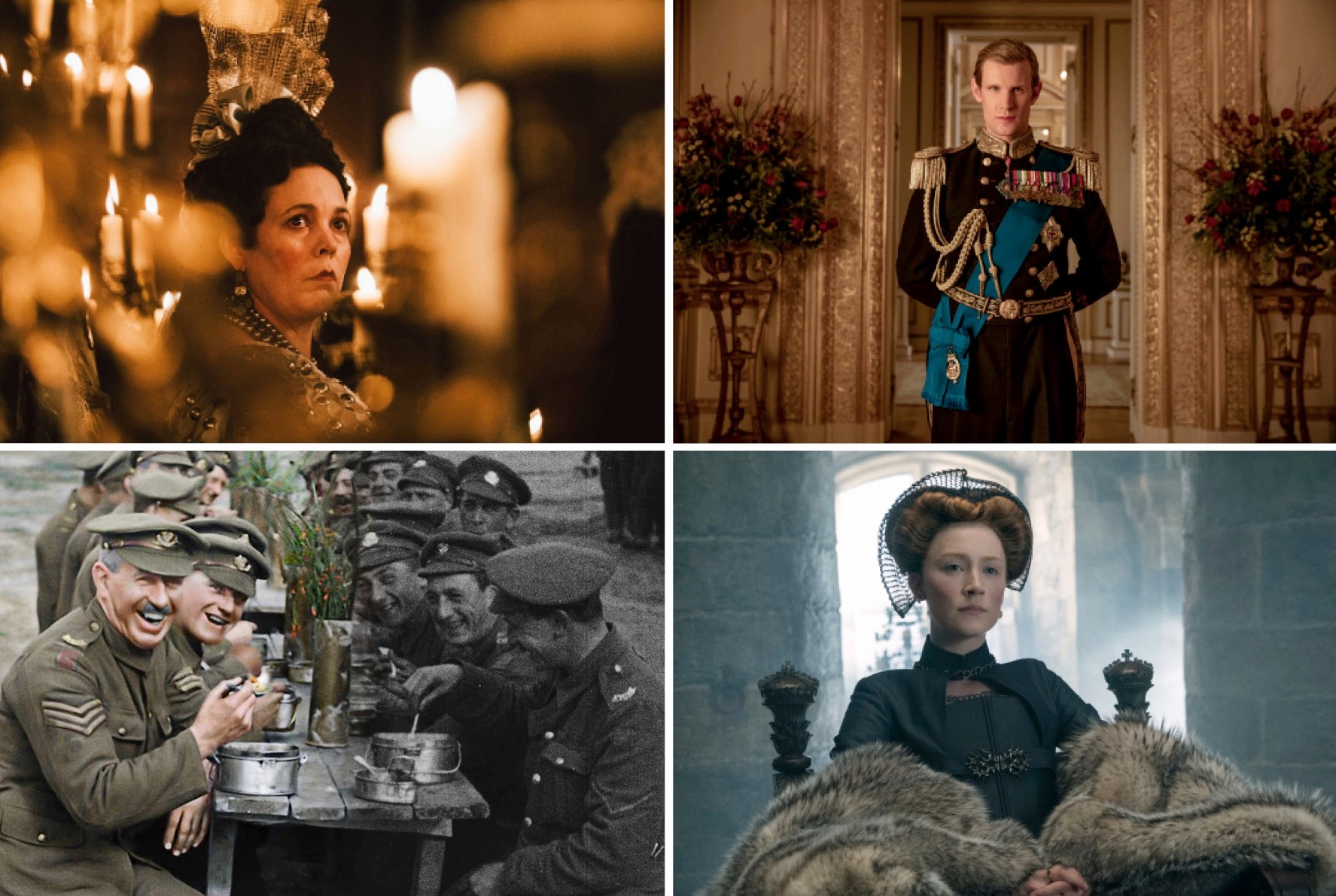 Clockwise from top left: Olivia Colman as Queen Anne in 'The Favourite'; Matt Smith as Prince Philip in 'The Crown'; Saoirse Ronan in 'Mary Queen of Scots'; a colourised scene from 'They Shall Not Grow Old'. (Images: © 2018 Twentieth Century Fox Film Corporation | Robert Viglasky / Netflix | © 2018 Focus Features LLC | WingNut Films/Peter Jackson. Original black and white film © IWM)