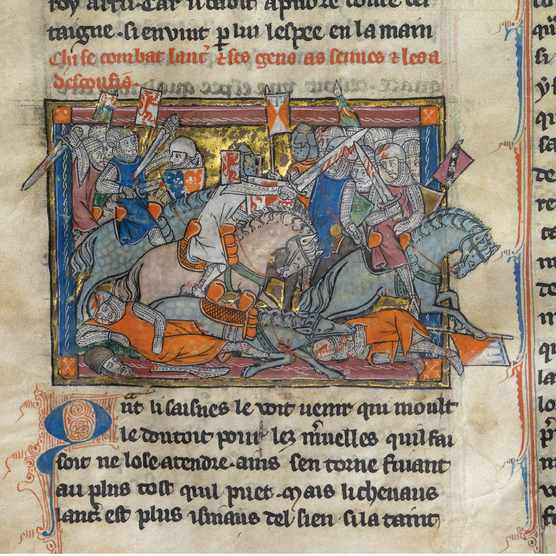 King Arthur fighting the Saxons (from the Rochefoucauld Grail). (Fine Art Images/Heritage Images/Getty Images)