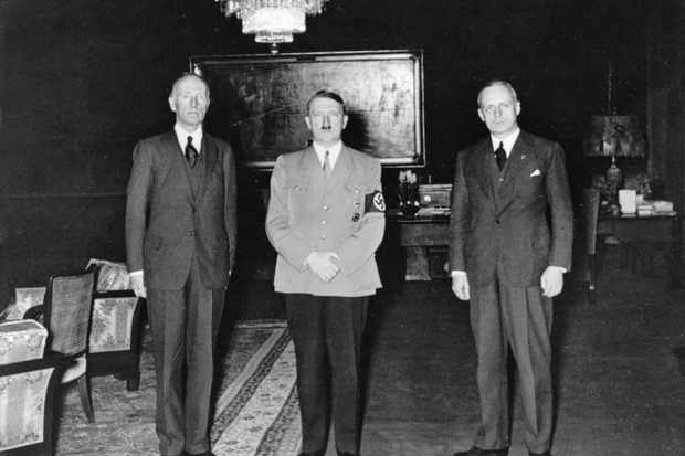 Adolf Hitler photographed with British politician Henry Vane-Tempest Stewart, 7th Marquess of Londonderry (left) and Joachim von Ribbentrop (right), minister of foreign affairs of Nazi Germany from 1938 to 1945. (Photo litzy ullstein bild/ullstein bild via Getty Images)