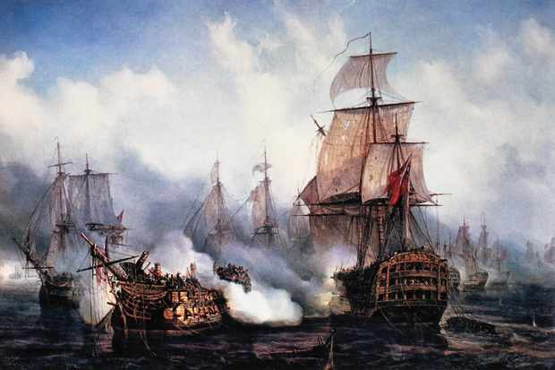 A painting by Louis Philippe Crepin depicting the battle of Trafalgar, 1805. (Photo by Universal History Archive/UIG via Getty Images)