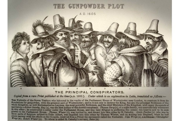 An illustration of the Gunpowder Plot principal conspirators, copied from a rare print published at the time (5 November 1605). (Photo by Fototeca Gilardi/Getty Images).