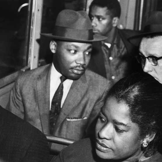 Martin Luther King, Jr rides the Montgomery bus