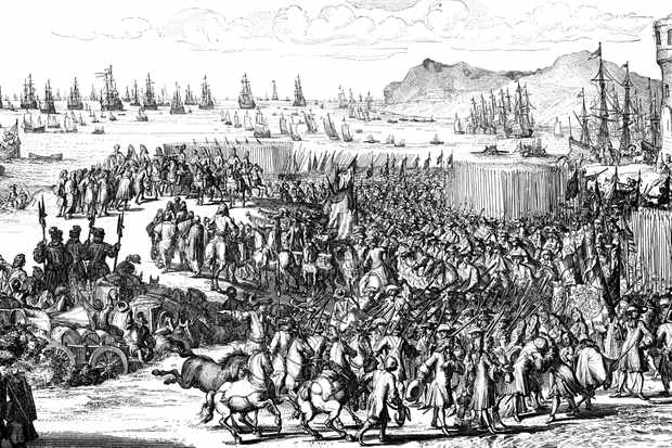 William of Orange landing with his army at Torbay, Devon, 5 November 1688. (Photo by Ann Ronan Pictures/Print Collector/Getty Images)