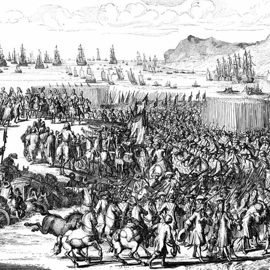 William of Orange landing with his army at Torbay, Devon, 5 November 1688. A protestant, William of Orange (1650-1702) was invited by a conspiracy of English notables to depose the Catholic James II and assume the throne in his stead. The invasion, which was virtually bloodless, was successful and became known as the 'Glorious Revolution'. James fled to France and the Prince of Orange was crowned William III of Great Britain and Ireland on 11 April 1689. He co-ruled with his wife Mary II from 1689, continuing as sole ruler after her death in 1694. (Photo by Ann Ronan Pictures/Print Collector/Getty Images)