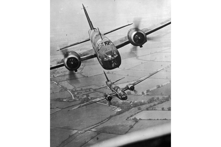A flight of Vickers Wellington long-range bombers, used by the Royal Air Force to undertake raids into Germany and elsewhere, 8 February 1940. (Photo by Topical Press Agency/Getty Images)