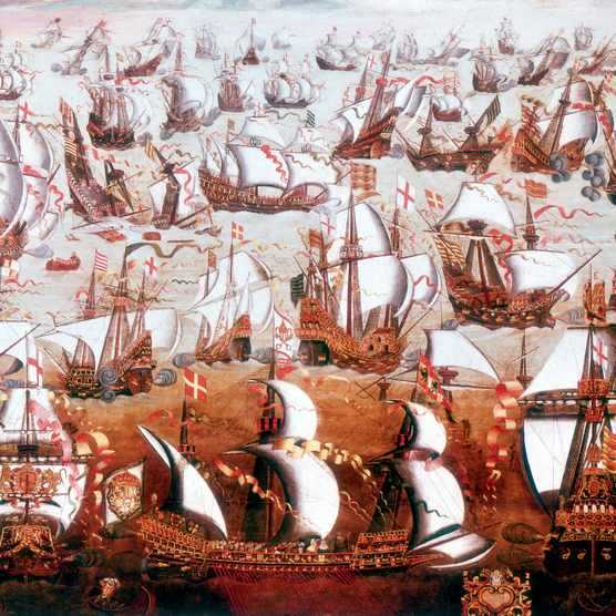 The Spanish Armada which threatened England in July 1588.